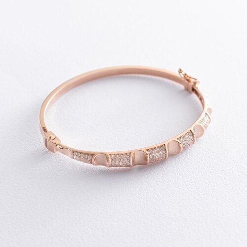 Жесткий браслет в красном золоте (фианиты) б04546