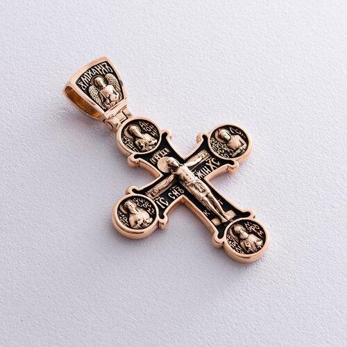 Золотой православный крест с чернением. Восемь святых п01404