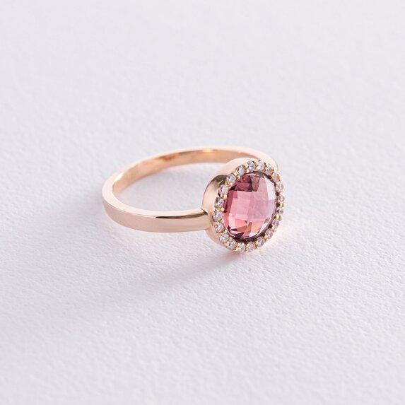 Золотое кольцо с розовым и белыми фианитами к06830