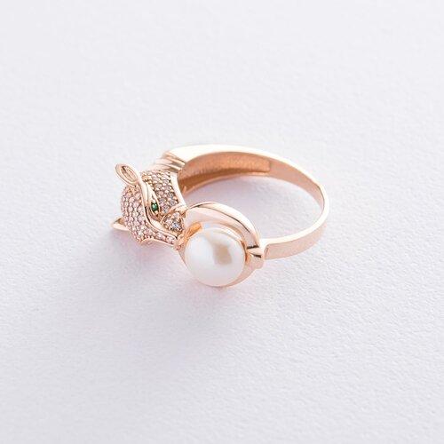 """Золотое кольцо """"Пантера"""" (фианиты, жемчуг). к06068"""