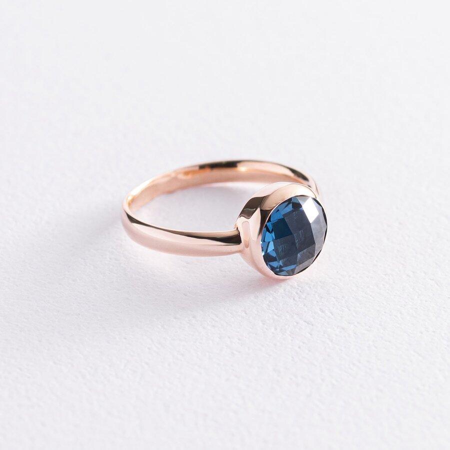Золотое кольцо (синий фианит) к06835