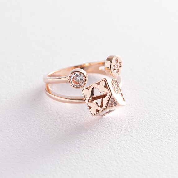 """Золотое кольцо """"Цветочки-сердце-клевер"""" с фианитами к05198"""