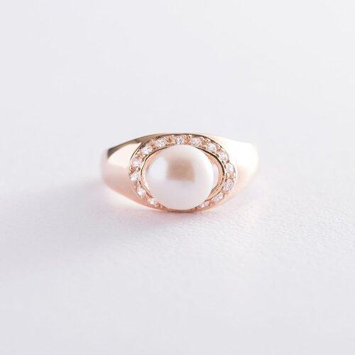 Золотое кольцо (жемчуг, фианиты). к06213