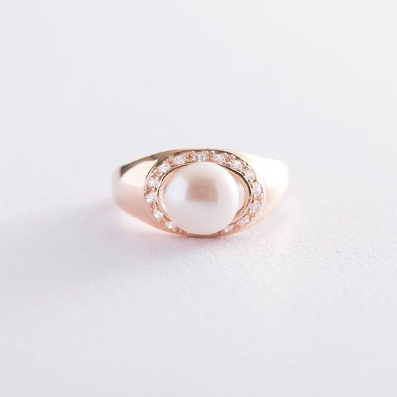 Золотое кольцо (жемчуг, фианиты) к06213