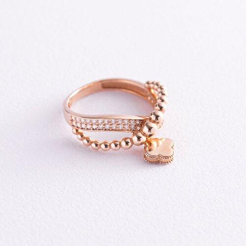 """Золотое кольцо """"Клевер"""" (фианит) к06234"""