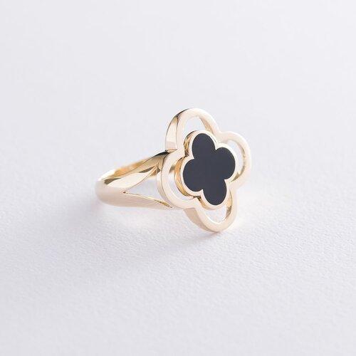 """Кольцо """"Клевер"""" в желтом золоте (эмаль) к06550"""