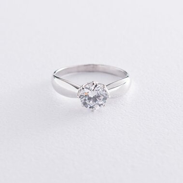 Помолвочное кольцо в белом золоте (фианит) к06592