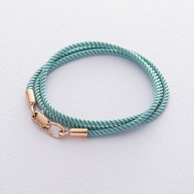 Шовковий блакитний шнурок з золотою гладкою застібкою (2 мм) кол01012
