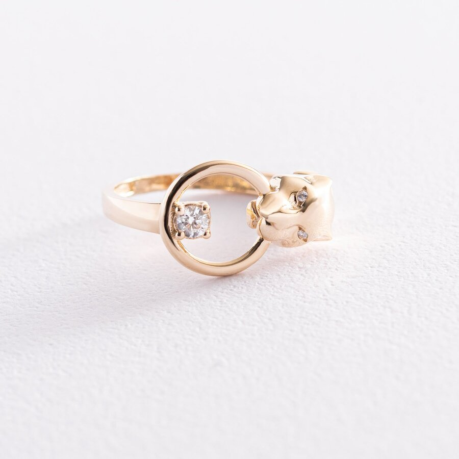 """Кольцо """"Пантера"""" в желтом золоте (фианиты) к06844"""