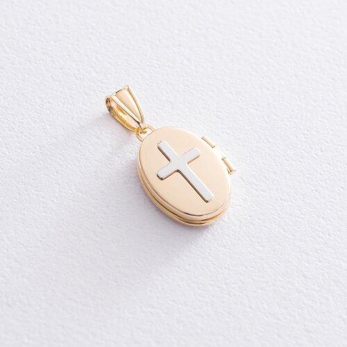Золотой кулон для фотографии с крестиком. п03434