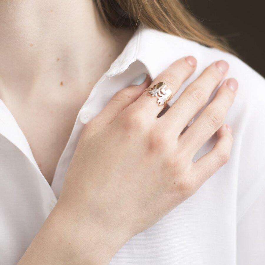 """Золотое кольцо """"Девочки"""" (фианит) к06243"""