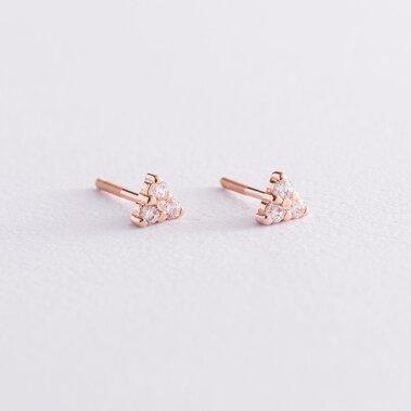 Золотые серьги-гвоздики с фианитами с02318