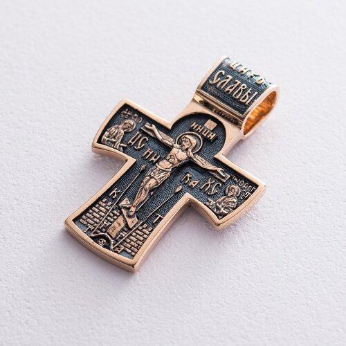 """Золотой православный крест """"Распятие. Ангел Хранитель"""". п02885"""