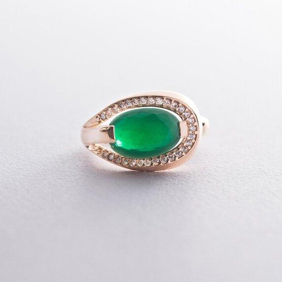 Золотое кольцо (хризопраз, фианиты) к03276