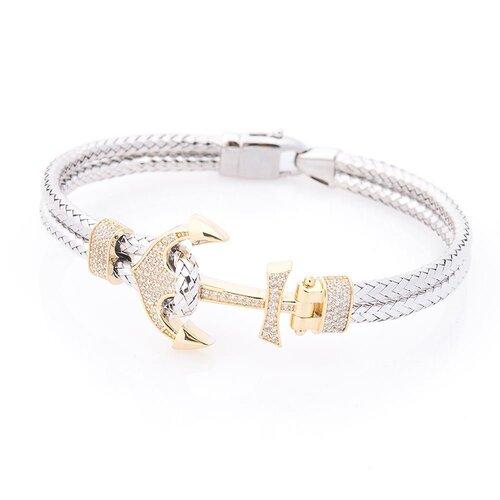 Золотой мужской браслет с якорем (фианит). б04041