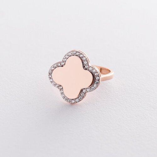 """Золотое кольцо """"Клевер"""" с фианитами к06219"""