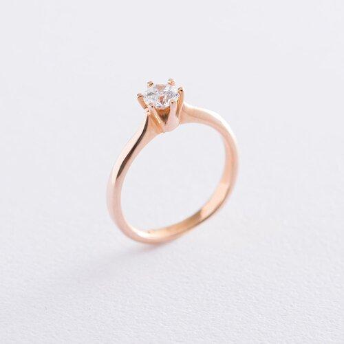 Золотое помолвочное кольцо со Сваровски к06227