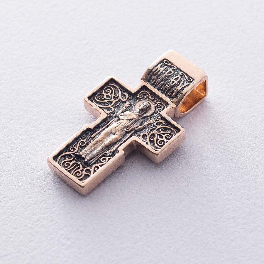 """Золотой крест """"Распятие. Божия Матерь Оранта"""" с чернением п01825"""