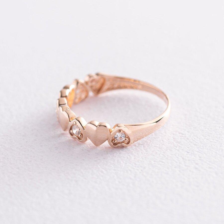 """Золотое кольцо """"Сердечки"""" (фианиты) к05601"""