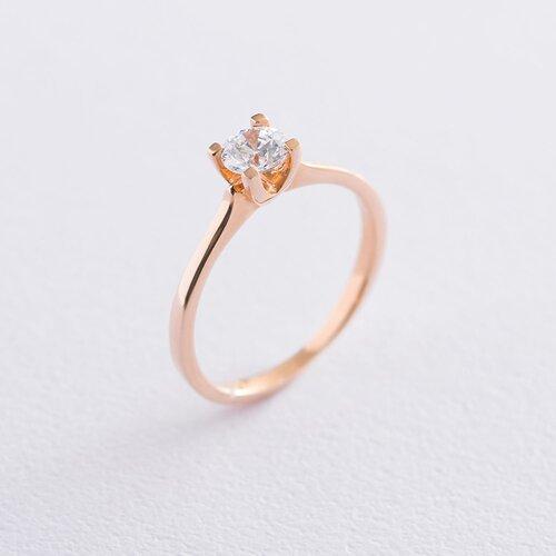 Золотое помолвочное кольцо с кристаллом Swarovski к06229