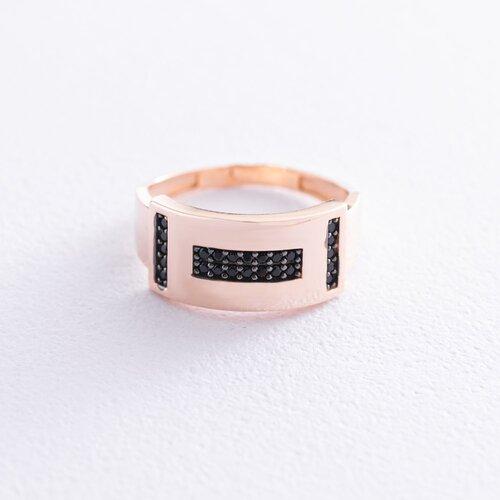 Золотое кольцо (черные фианиты) к06648
