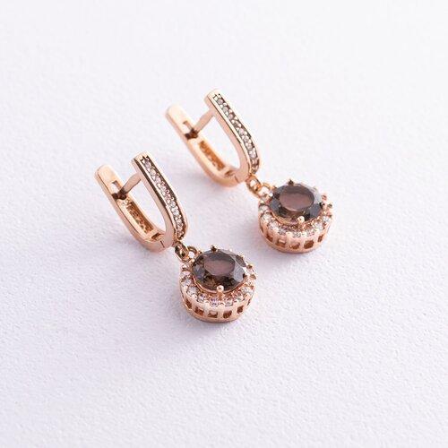 Золотые серьги (дымчатый кварц, фианиты) с01494