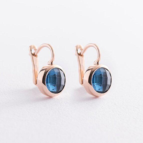 Золотые серьги (синие фианиты) с07461