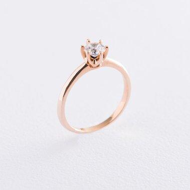 Помолвочное кольцо в красном золоте (куб. цирконий Swarovski) к06230