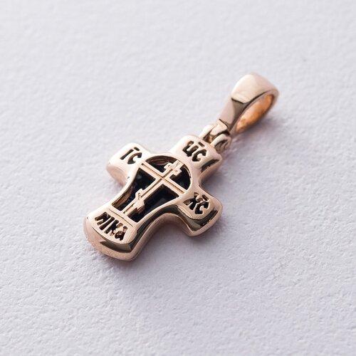 Золотой православный крестик (эмаль) п03076с