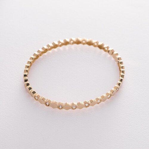 Жесткий золотой браслет с фианитами б04189