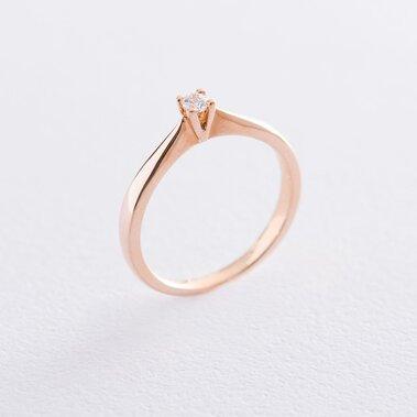 Помолвочное кольцо в красном золоте (куб. цирконий Swarovski) к06239