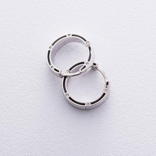 Золотые серьги-кольца с фианитами, диаметр: 17 мм. с05021