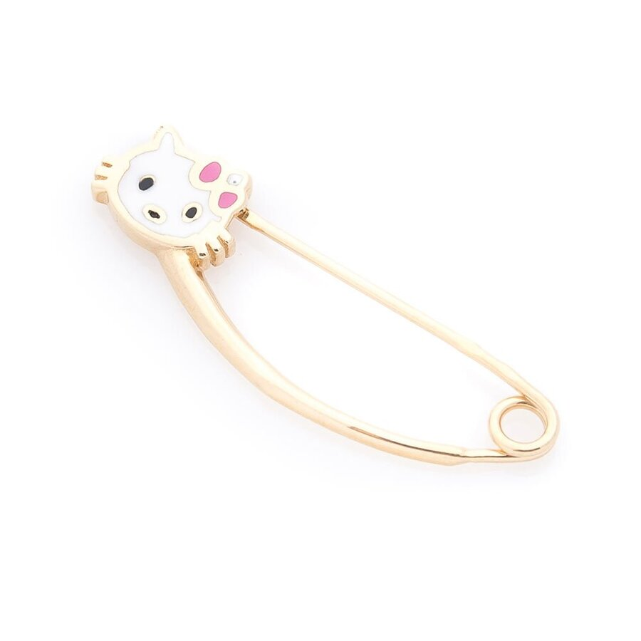 "Золотая булавка ""Hello Kitty"" (эмаль) зак00260"