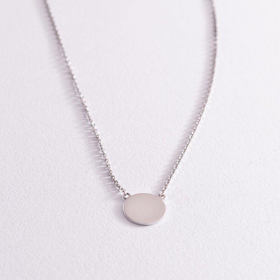 """Колье """"Монетка"""" в белом золоте (возможна гравировка) кол02042"""