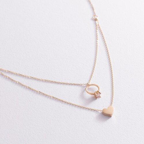 Золотое колье с помолвочным кольцом и сердцем (фианит) кол02047