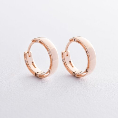 """Золотые серьги """"Кольца"""" (фианиты), диаметр: 17 мм. с05227"""
