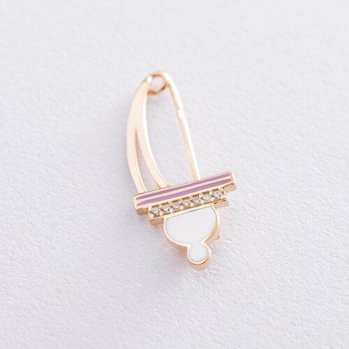 Золотая булавка (эмаль, фианит). зак00298