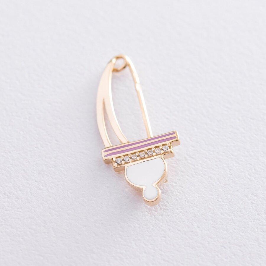 Золотая булавка (эмаль, фианит) зак00298