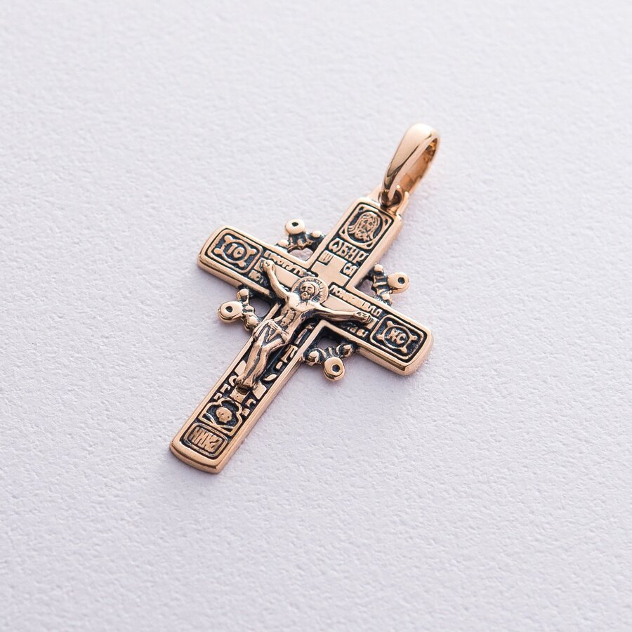 """Золотой крест """"Распятие"""". Молитва """"Да воскреснет Бог"""" п02418"""