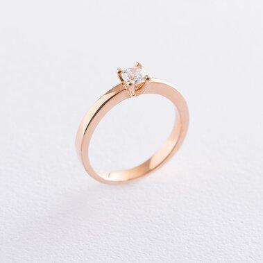 Помолвочное кольцо в красном золоте (куб. цирконий Swarovski) к06225