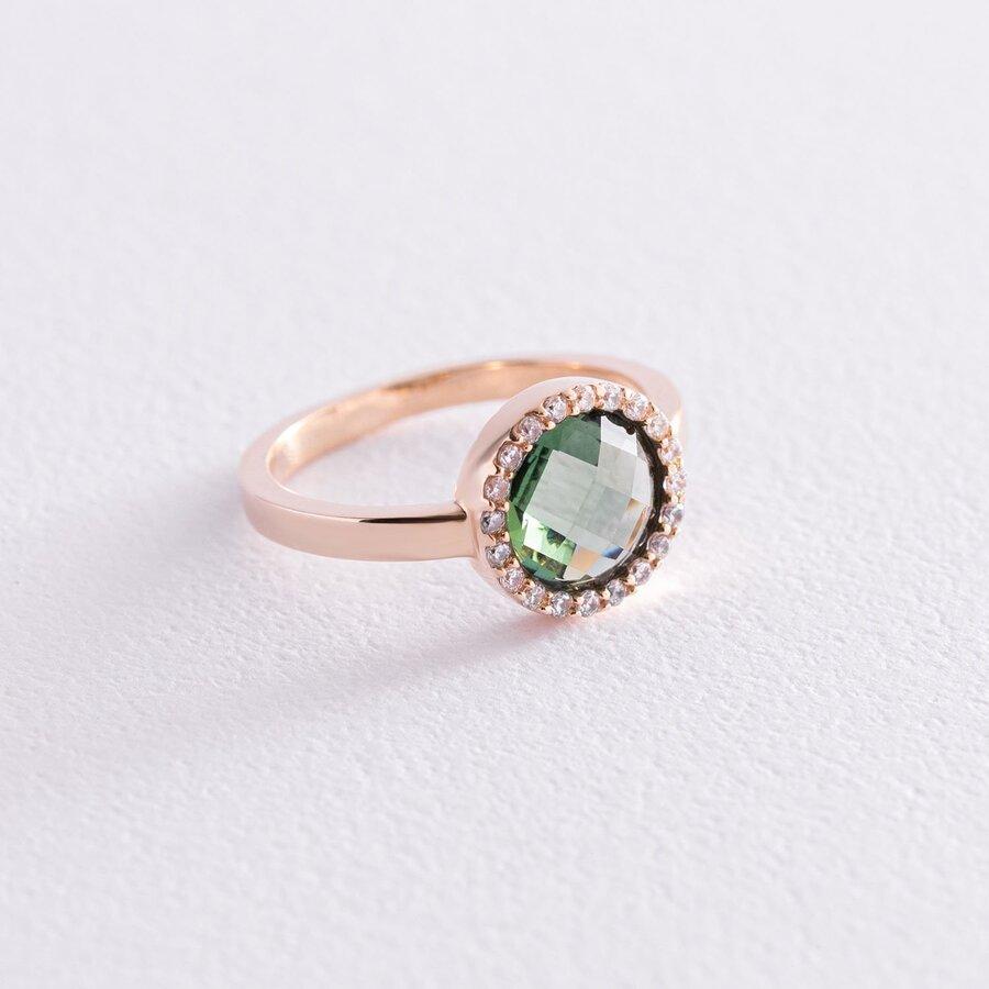 Золотое кольцо с зеленым и белыми фианитами к06829