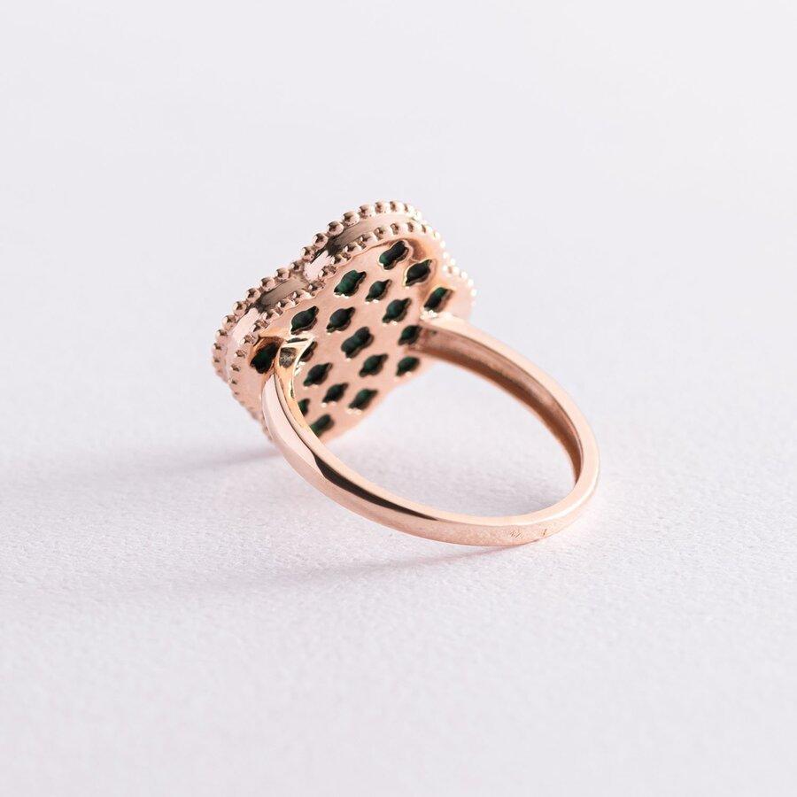 """Золотое кольцо """"Клевер"""" с малахитом к06881"""