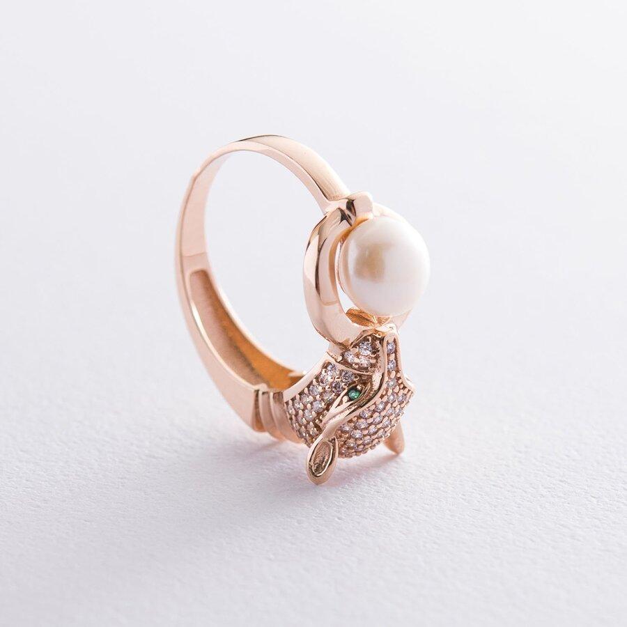 """Золотое кольцо """"Пантера"""" (фианиты, жемчуг) к06068"""