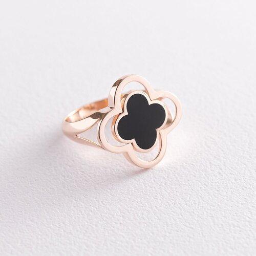 """Кольцо """"Клевер"""" в красном золоте (эмаль) к06549"""