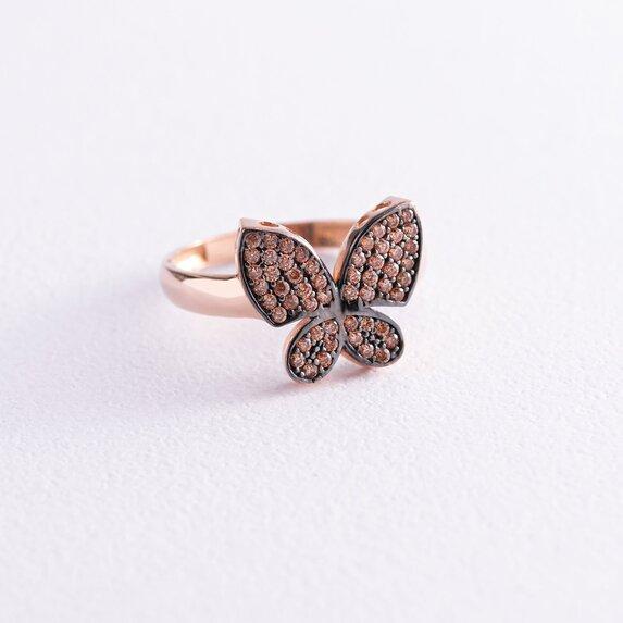 """Золотое кольцо """"Бабочка"""" с фианитами к05655"""