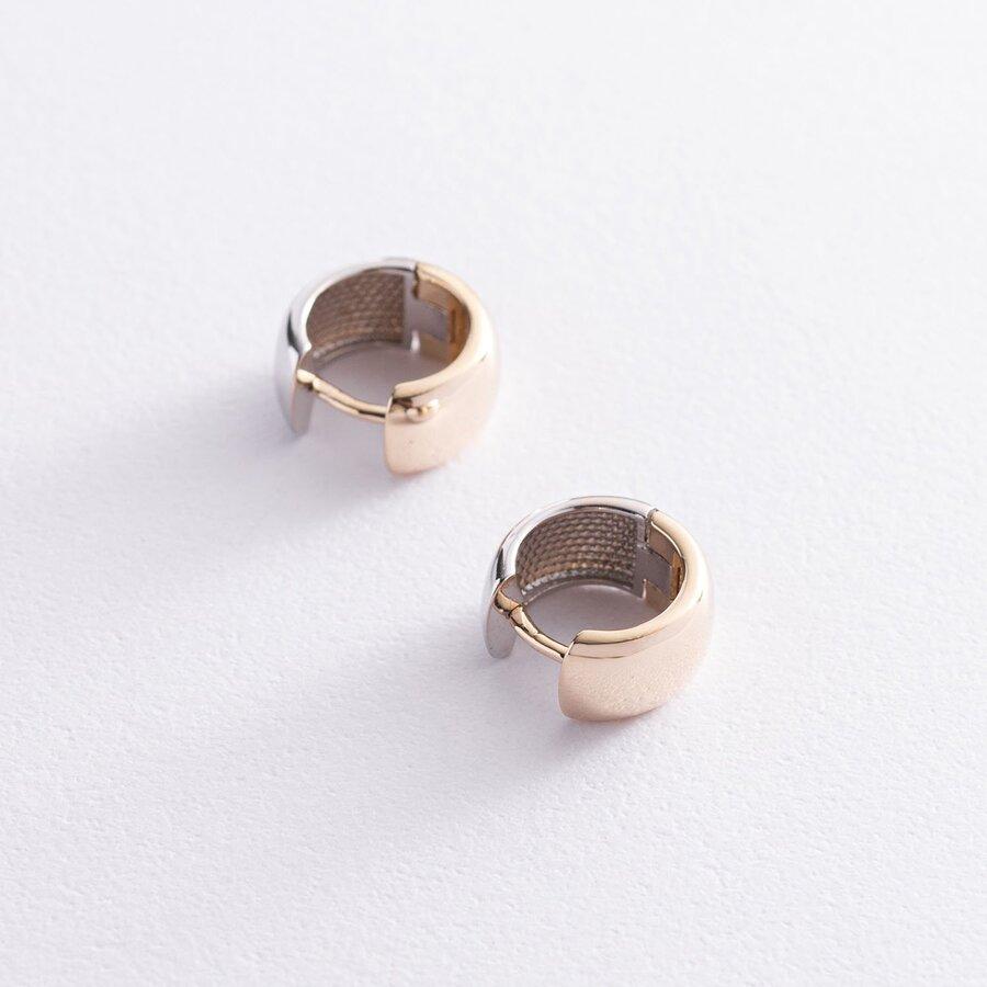 Серьги - кольца из желтого и белого золота с07524
