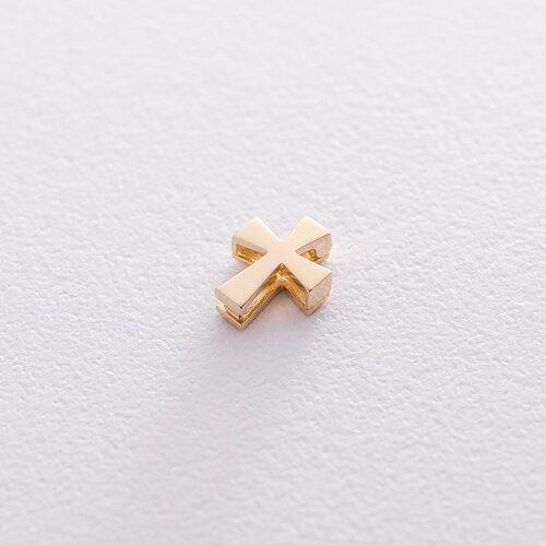 Открывающийся крестик Минимал в желтом золоте п03298