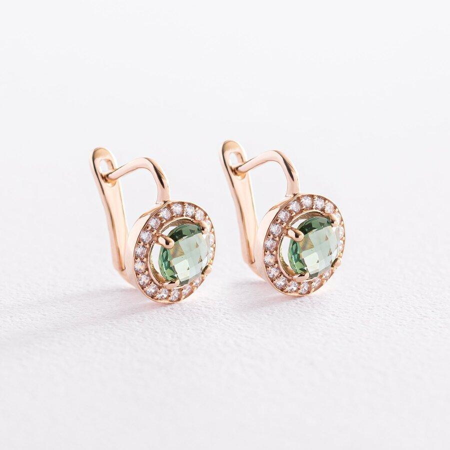 Золотые серьги с зелеными и белыми фианитами с07464