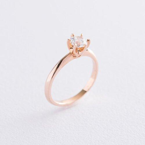 Помолвочное кольцо в красном золоте (куб цирконий Swarovski) к06226