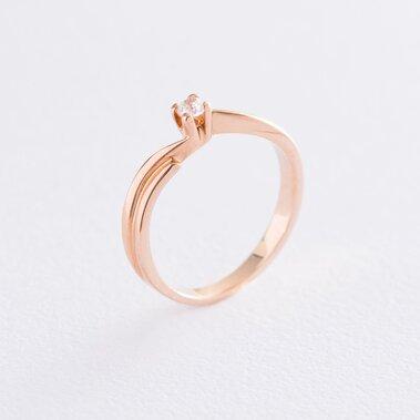 Помолвочное кольцо в красном золоте (фианит) к06094